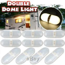10x 72 LED Double Ceiling Interior Dome Light For Camper RV Boat Trailer Marine