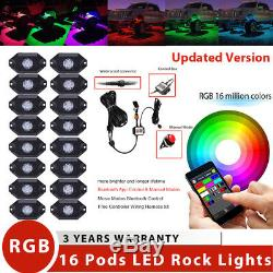 16 Pods RGB LED Multi-Color Offroad Rock Lights Strobe Wireless Bluetooth Trucks