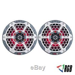 2 DS18 CF8 8 2-Way Coaxial Marine Speakers ATV UTV Boat with RGB LED Lights