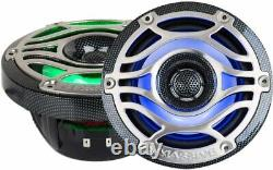 2 Massive Audio T65S 6.5 Marine Speakers 320W 4-ohm Coaxials with LED Lights