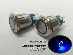 2 of Marine SS 304 Blue LED 12V Flush Light AUTO ON-OFF Push Switch Ring Button