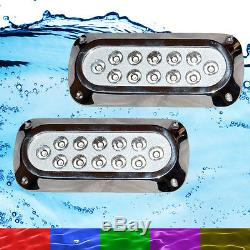 2 x 36W RGB Marine Underwater LED Boat Lights Multi-Colour + Remote VERY Bright