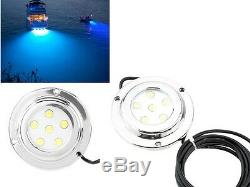 2pcs CREE Steel 6W Blue LED Marine Light LED Underwater Boat Light Waterproof
