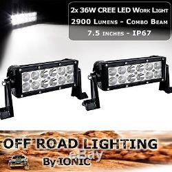 2x 7 Inch 36W CREE LED Light Bar Work Spot Flood Lamp Offroad 6000k Ford Truck