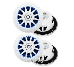 4 Boss Audio MRGB65 Coaxial 200W Boat Marine Speakers 6.5 with RGB LED Lights