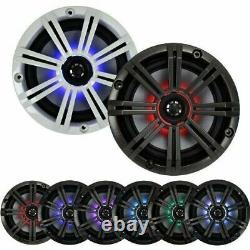 4-Speakers With Multi Color LED Lights Kicker 6.5 Marine Audio, Charcoal Grill
