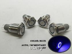 4 of MARINE SS304 BLUE LED ULTRA FLUSH LIGHT AUTO ON-OFF PUSH SWITCH RING BUTTON
