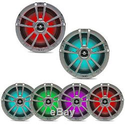 4x Titanium OEM Replacement Infinity 6.5 225W Marine Speakers with RGB LED Lights