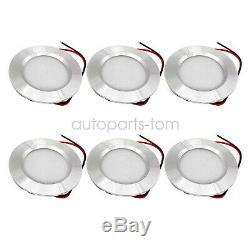6X Silver 12 volt 3w Interior RV Marine LED Recessed Ceiling Lights Cool White