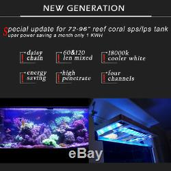 72 6ft Dimmable WiFi LED Aquarium Light Reef Coral Marine SPS LPS, Programmable