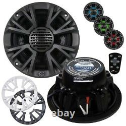 Audiopipe 8 2-Way Marine Speaker With Led Lights 500W Max Grills Included Apmp