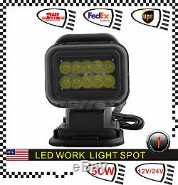 CREE 50W LED Remote Control Search Light Magnetic Base Spot Marine Rotative IP67