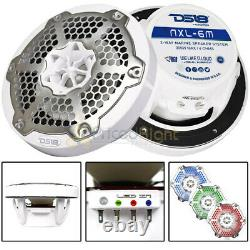 DS18 6 5 Marine Speakers Integrated RGB LED lights 300 Watts White NXL-6M/WH