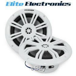 Kicker 45KM604WL 6.5 2-Way Marine Coaxial Speakers with Blue LED Lights