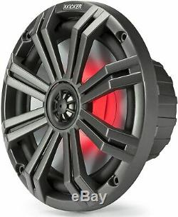 Kicker 8 Marine Coaxial Boat Speakers Pair Red LED Lights, 4 Ohm, 300W