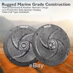 Lot of (6) Pyle PLMRS43BL 4 100W Low-Profile Marine Speakers with LED Lights