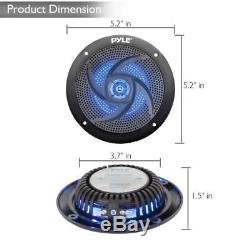 Lot of (8) Pyle PLMRS43BL 4 100W Low-Profile Marine Speakers with LED Lights