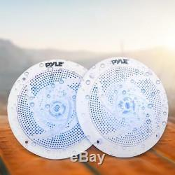 Lot of (8) Pyle PLMRS43WL 4 100W Low-Profile Marine Speakers with LED Lights