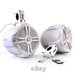 NEW Pyle PLMRWB85LEW Dual 8 Marine Tower Wakeboard Speakers Color Lights 260W