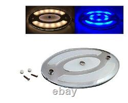 Pactrade Marine RV Auto White Blue Oval LED Ceiling Courtesy Light Touch Switch