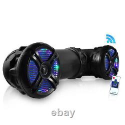 Pyle 800 Watt Marine ATV Portable Waterproof Bluetooth Speaker with LED Lights