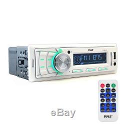 Pyle Marine Receiver, 6.5 240W Waterproof Speakers withLED Lights, Antenna, Cover