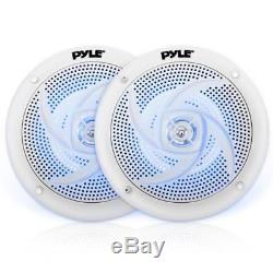Pyle Stereo Headunit Receiver, 6.5 240W Marine Speakers with LED Lights, Antenna